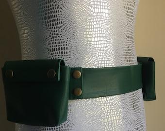 "SALE 20%0FF: Hunter Green Marine Vinyl Utility Belt 2 pocket - 37"" LAST ONE"