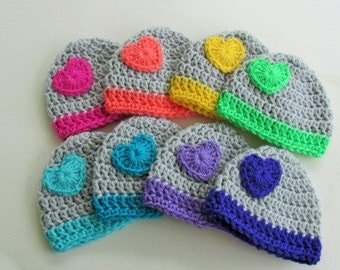 Baby Girl Hat,Crochet Newborn Heart Hat, Baby Boy Hat, Baby Girl Beanie, Baby Photo Prop, Heart Beanie, Baby Skull Cap