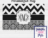 Chevron and Damask Personalized Area Rug - Black and White Area Rug - Monogrammed Rug - Bedroom Custom Rug
