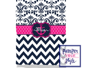 Hot Pink and Navy Blue Nautical Girls Blanket - Nursery Baby Blanket Anchor - Girls Blanket