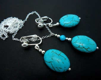 A hand made turquoise oval bead  necklace and  clip on earring set.