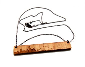 Seattle Skyline Pendant Necklace - Etched Bamboo Seattle Necklace