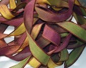 "Fall Mums Hand Dyed Silk Wrist Wrap Ribbons//Silk Wrist Wrap Yoga Bracelet 42"" Ribbon//Silk Bracelet Ribbon// By Color Kissed Silk LLC"