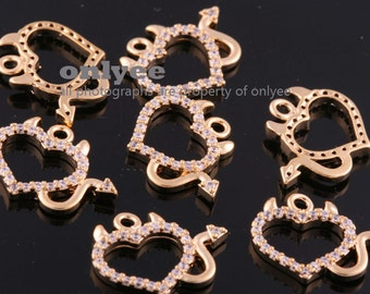 2pcs-14mmX11mm Bright Gold plated over Brass Clear Cubic Zirconia Evil heart pendants Charms/Connector(K1100G)