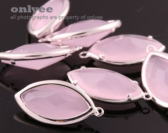 2pcs-20mmX10.5mBright Rhodium Faceted NEW Style Oval Drop With Glass pendants-IcePink(K1030)
