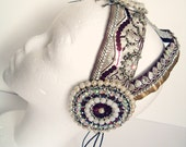 CYBER MONDAY - MataHari - shiny purple bellydance, tribal fusion, carnival, show headpiece, headband, headdress