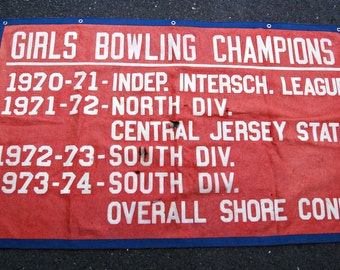 Vintage 1970s Girls Bowling Champions Wool Felt Banner from a New Jersey School