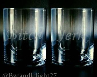 Bitch Jerk,  Supernatural, Hand Drawn, supernatural gift, Etched Glass set of 2,  Glasses Tumblers