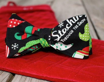 Christmas Mustache Bow Tie