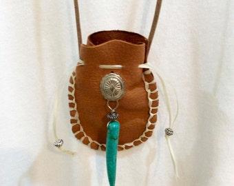 Southwestern Spirit Leather Necklace Medicine Bag - Amulet Bag - Crystal Pouch - Herb Bag - Turquoise Horn Charm - Boho Necklace