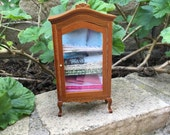 Shabby Chic/French/Cottage Curio Cabinet Pink/Green/Blue - Dollhouse Miniature