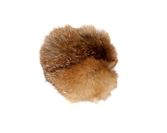 Detachable rabbit fur pom pom