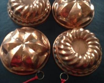 Vintage Copper Baking Molds Set Of 4