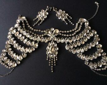Victorian wedding bridal rhinestone crystal shoulder necklace and earrings jewelry set, wedding necklace, bridal necklace, rhinestones neck