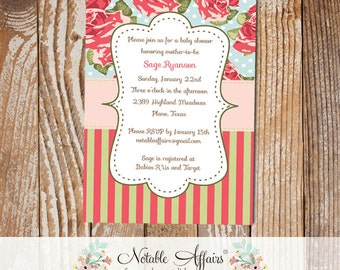 Shabby Chic Vintage Cottage Rustic Garden Party Large Rose Stripes and Polka Dots Flowers Baby or Bridal Shower Invitation
