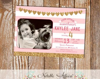 Light pink and Glitter Gold Sweetheart Valentines Day Birthday Party invitation with photo - valentines birthday invitation