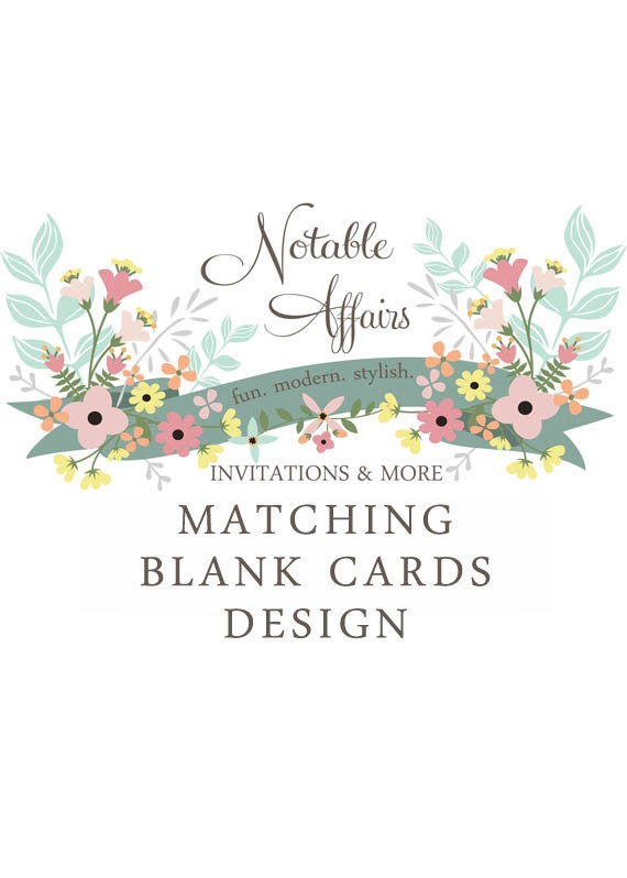 Matching Blank Cards - Perfect for food labels, signs, etc. - Choose your invitation and matching card