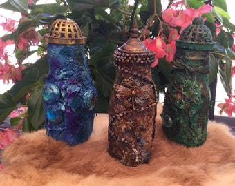 Altered bottles, mixed media bottles, decorated bottles,glass bottles, ocean theme, forest theme, tan and brown altered bottle,