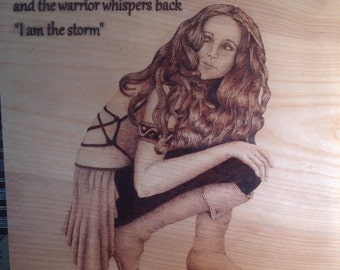 Pyrography, The warrior inside us. Pyrographics, Woodburn, lady, home decor,warrior, fantasy art, Woodburn art,