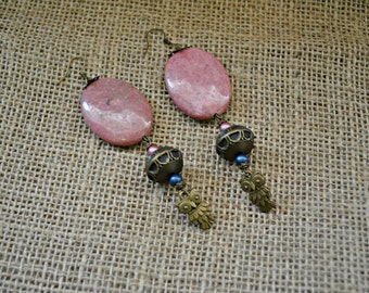 Pink Rhodocrosite Oval and Owl Antique Bronze Earrings