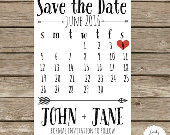 Custom 4x6 Save the Date Calendar with Arrow Detail - Digital and Printing Options Available - Choose Heart Color - Magnet Option