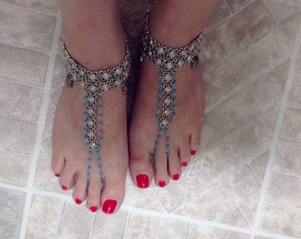 Barerfoot Sandals,Beach Wedding,Charm Silver Anklets, Ankle Bracelet Chain, Foot Jewelry Ankle Bracelet, (Adjustable)