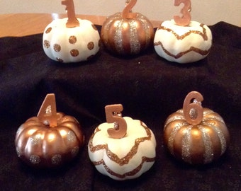 FALL..Pumpkin..Table Numbers..Wedding..Halloween..Event..Thanksgiving..Set of Six