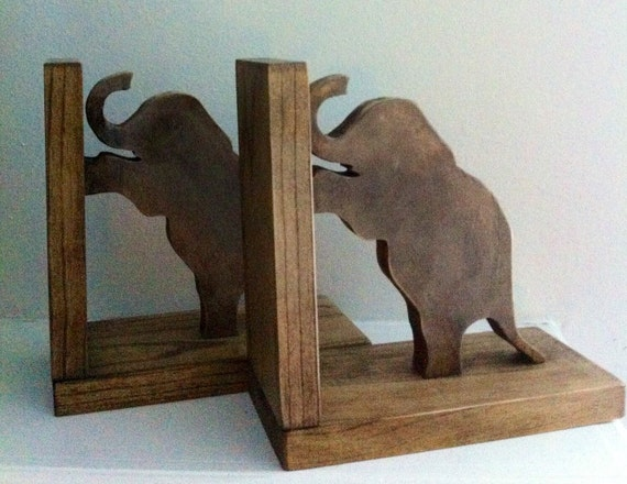 Elephant Bookends, Jungle Decor, Wooden Standing Elephants Bookends - Stained bookends, wooden bookends