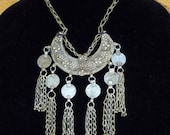 Vtg 60's 70's OOAK boho India tribal Banjara Rajasthan gypsy belly dance Silvertone crescent dangle coin statement necklace