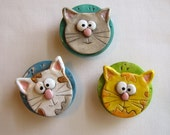 Whimsical Cat face magnet set of 3, Cute Cat Magnets, Polymer clay Magnets