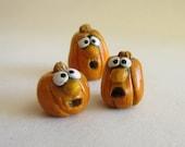 Miniature Pumpkins, Silly Face Pumpkin decorations, Cute Polymer Clay Pumpkins, Halloween Pumpkins