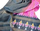 Black Silk Scarf, Pink Silk Scarf, Ikat Scarf, Soft Indian Scarf, Gypsy Style, Bohemian Accessories