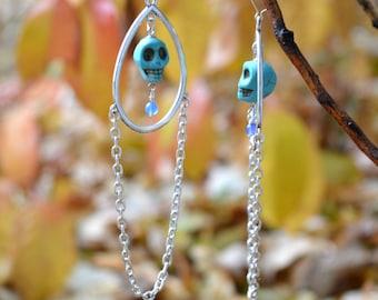 Long Silver Earrings, Turquoise Skull Earring, Turquoise Earring, Silver Chain, Tribal Hippie Boho Dangle, Chandelier, Tribal Jewelry, Goth