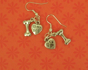 "Antique Silver Earrings a Bone and a Little Heart With a Paw  Print on One Side and ""I Love My Dog"" on the Other.-Both Double Sided Charms"
