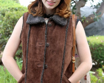 Vintage Shearling Faux Fur Lined Suede Adventurer Southwestern Brown Button Up Vest