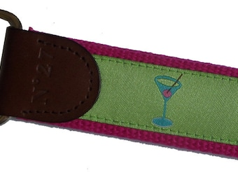 Martini Drink Key Fob/ Preppy Key Chain/Party Theme Key Fob/Pink and Green/Leather Key Chain/Key Ring