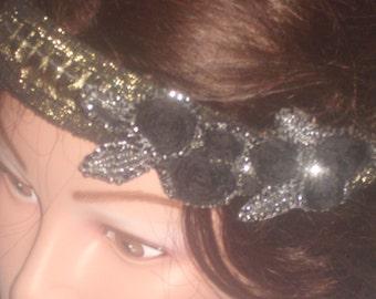 Vintage sequin and black rose headband