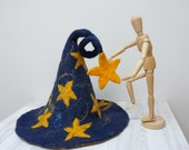 Wizard Halloween Witch hat dark blue yellow felted with stars sauna cap tribal Valentine New year Christmas carnival gnome navy