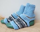 Yoga Socks Stockings hand knitted Leg warmer sky chunky blue white size one stripe handmade stripe gray black ready to ship Wool women