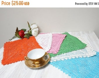HALLOWEEN SALE Doilies set of 6 crochet Coaster mat pad square blue pink white green orange off table placemat doily small tiny folk pattern
