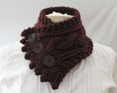 Fishermans Wife Buttoned Cowl,  Cable Knit Cowl, Neck Warmer, Knitted Cowl, Cable Knit Scarf, Color Name Claret (maroon)