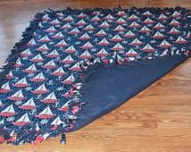 Fleece No Sew  Blanket - Sailboat Themed Blanket - Lap Blanket - Blue and White