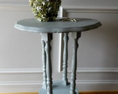 Upcycled Vintage Accent Pedastal Table - Cottage Chic, Beachy