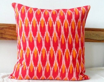 Ikat Print Pillow cover in Red and Orange, Ikat Print cushion cover, Red Pillow cover