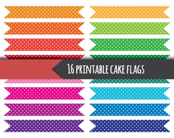 Printable cake flags, printable cupcake toppers, printable cake toppers, printable cupcake flags, polka dots, bright colours, rainbow flags