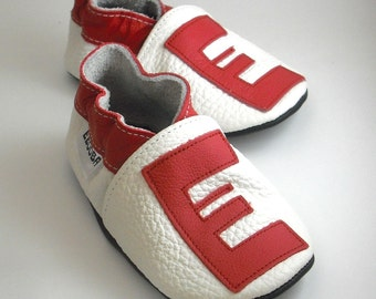 Soft sole baby shoes handmade infant gift red alphabet  white 6 12 ebooba LT-4-W-T-2