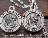 St Christopher Air Force Charm Medal, US Army Charm Medal Pendant, or US Navy Charm Necklace, US Marines, Saint Christopher Italy made