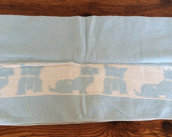Vintage Scottie Dog Baby Blanket Light Blue