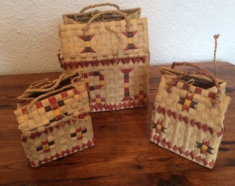 Vintage Woven Grass Boxes-Baskets-Purses-Bags, Set of 3 Matching
