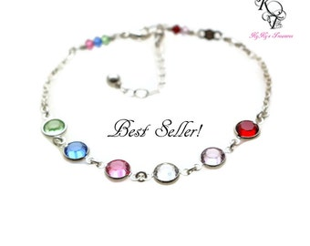 Family Bracelet - Birthstone Bracelet - Grandma Bracelet - Mothers Bracelet - Sterling Silver Bracelet - Birthstone Jewelry - Mother Jewelry
